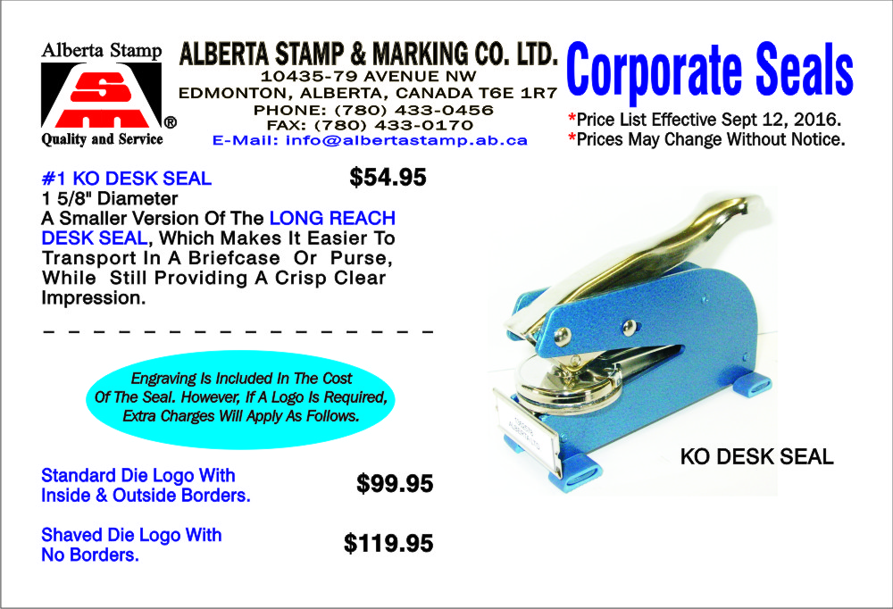 Alberta Stamp And Marking Co Ltd Stamp Manufacturer